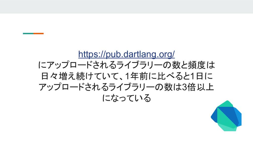 https://pub.dartlang.org/ にアップロードされるライブラリーの数と頻度...