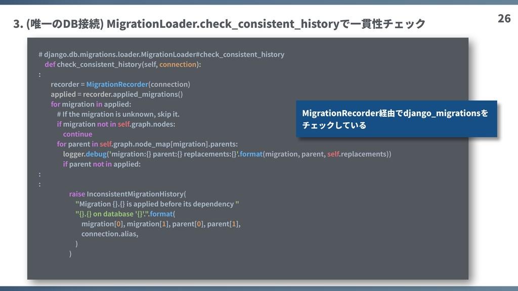 26 3. (唯⼀のDB接続) MigrationLoader.check_consisten...