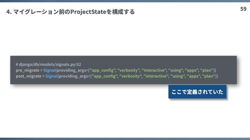 59 4. マイグレーション前のProjectStateを構成する # django/db/m...