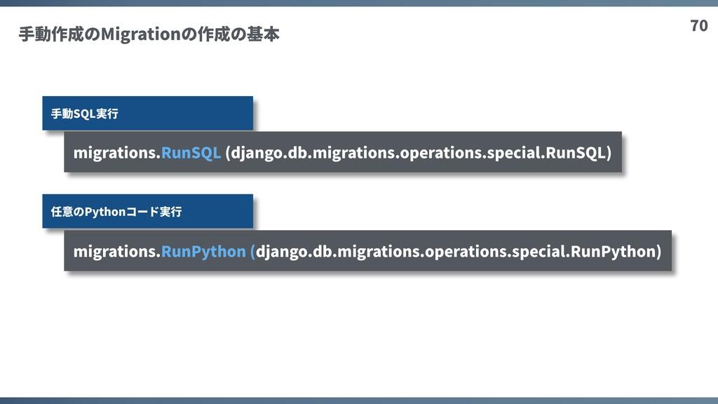 70 ⼿動作成のMigrationの作成の基本 ⼿動SQL実⾏ 任意のPythonコード実⾏ ...