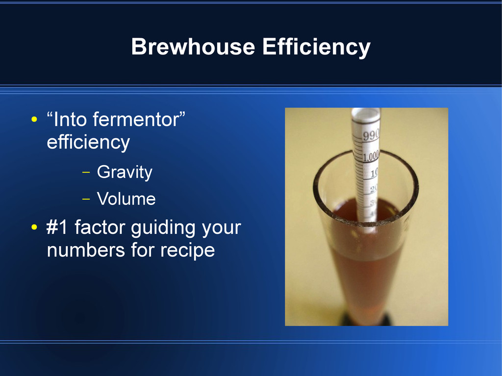 "Brewhouse Efficiency ● ""Into fermentor"" efficie..."