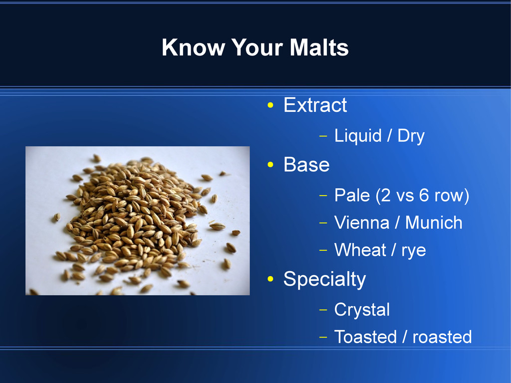 Know Your Malts ● Extract – Liquid / Dry ● Base...