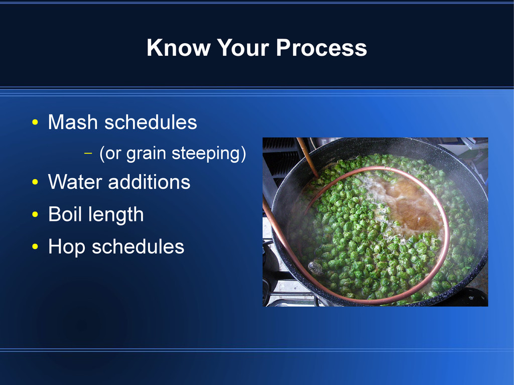 Know Your Process ● Mash schedules – (or grain ...