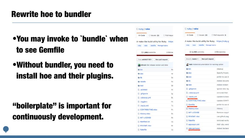 Rewrite hoe to bundler •You may invoke to `bund...