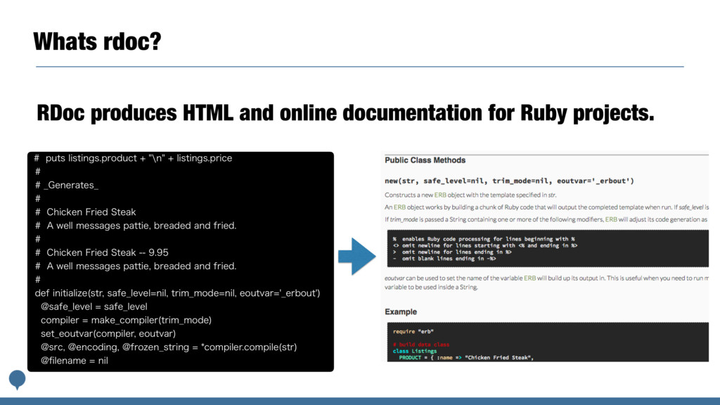 Whats rdoc? RDoc produces HTML and online docum...
