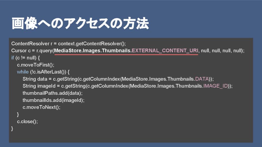 画像へのアクセスの方法 ContentResolver r = context.getCont...