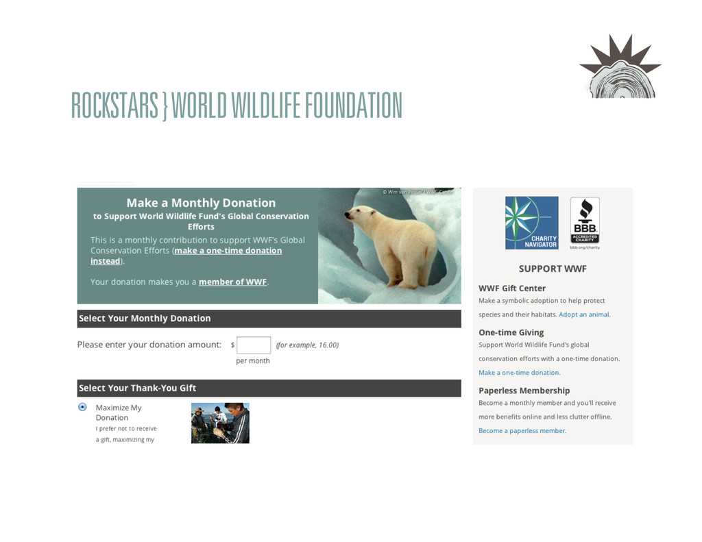 ROCKSTARS } WORLD WILDLIFE FOUNDATION