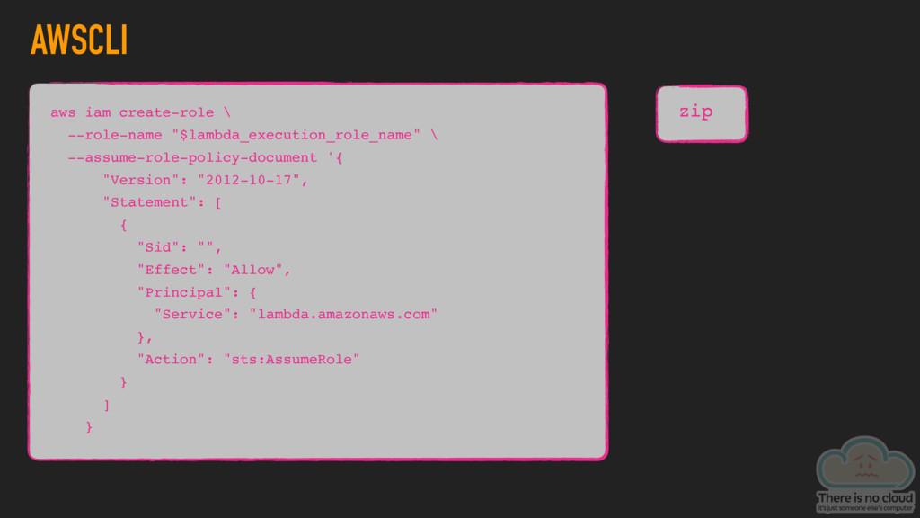 "AWSCLI zip aws iam create-role \ --role-name ""$..."