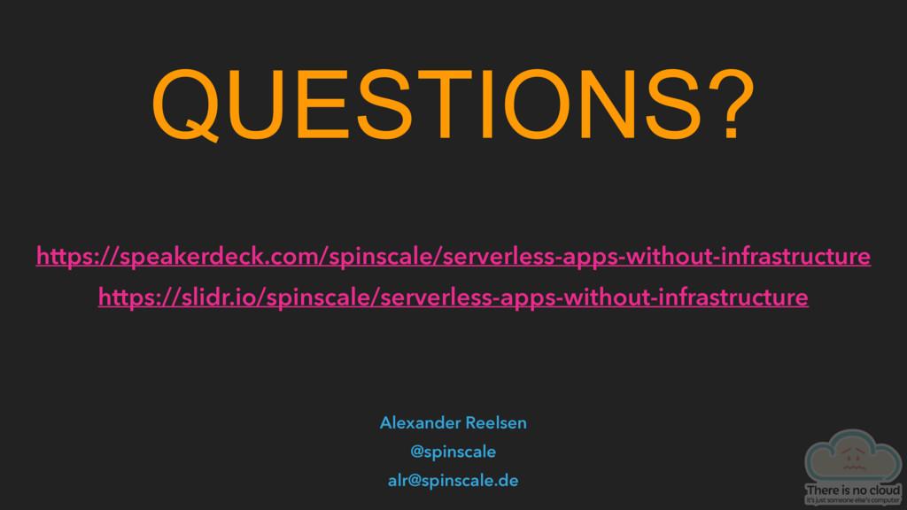 QUESTIONS? Alexander Reelsen @spinscale alr@spi...