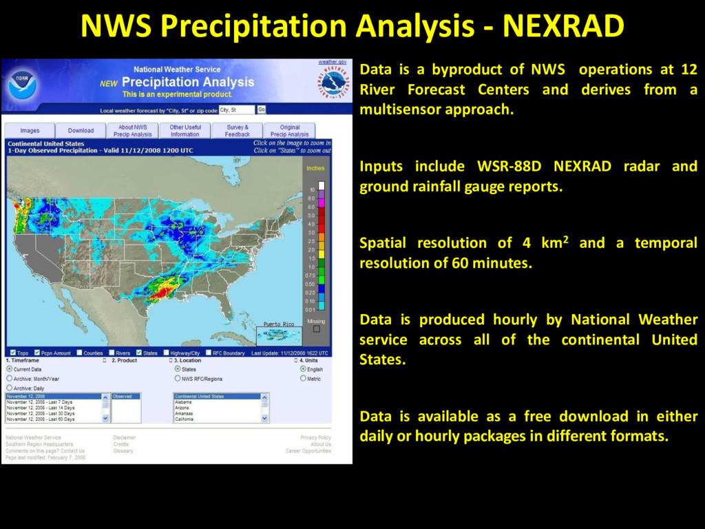 NWS Precipitation Analysis - NEXRAD Data is a b...