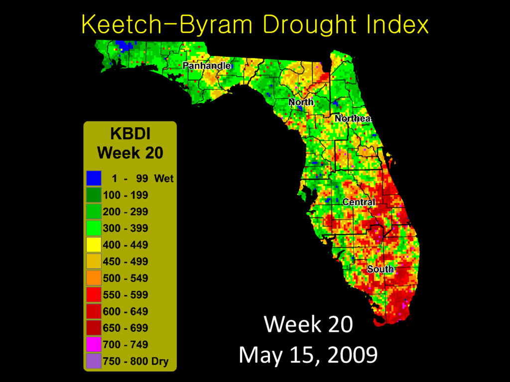 Keetch-Byram Drought Index Week 20 May 15, 2009