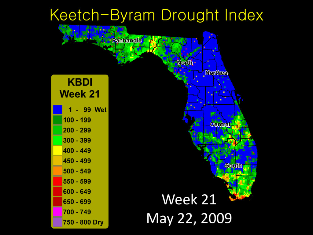 Keetch-Byram Drought Index Week 21 May 22, 2009
