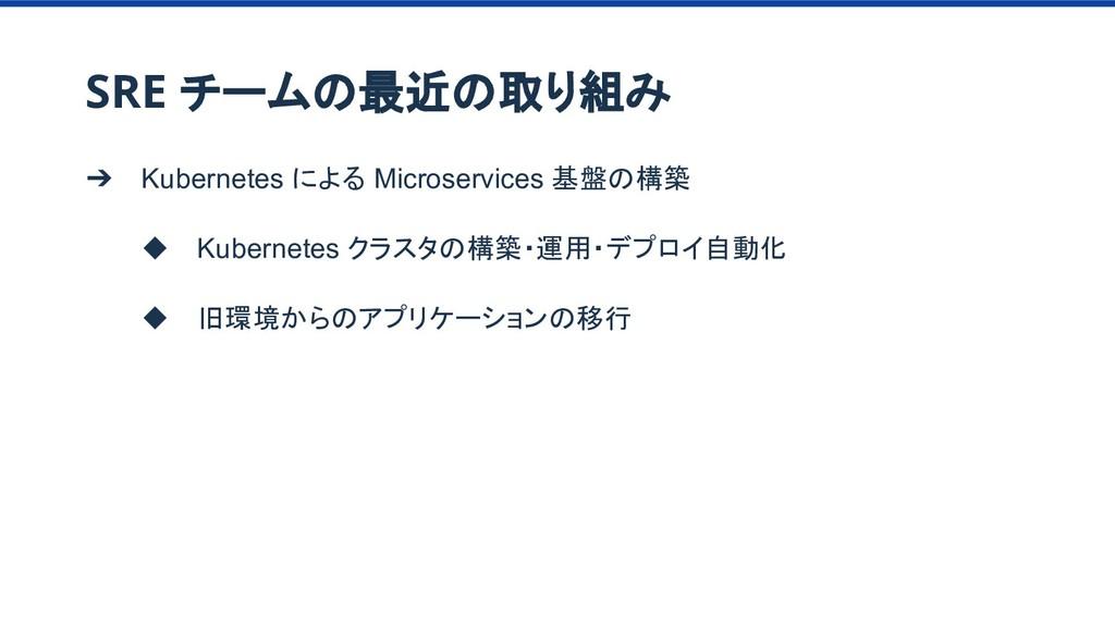 ➔ Kubernetes による Microservices 基盤の構築 ◆ Kubernet...