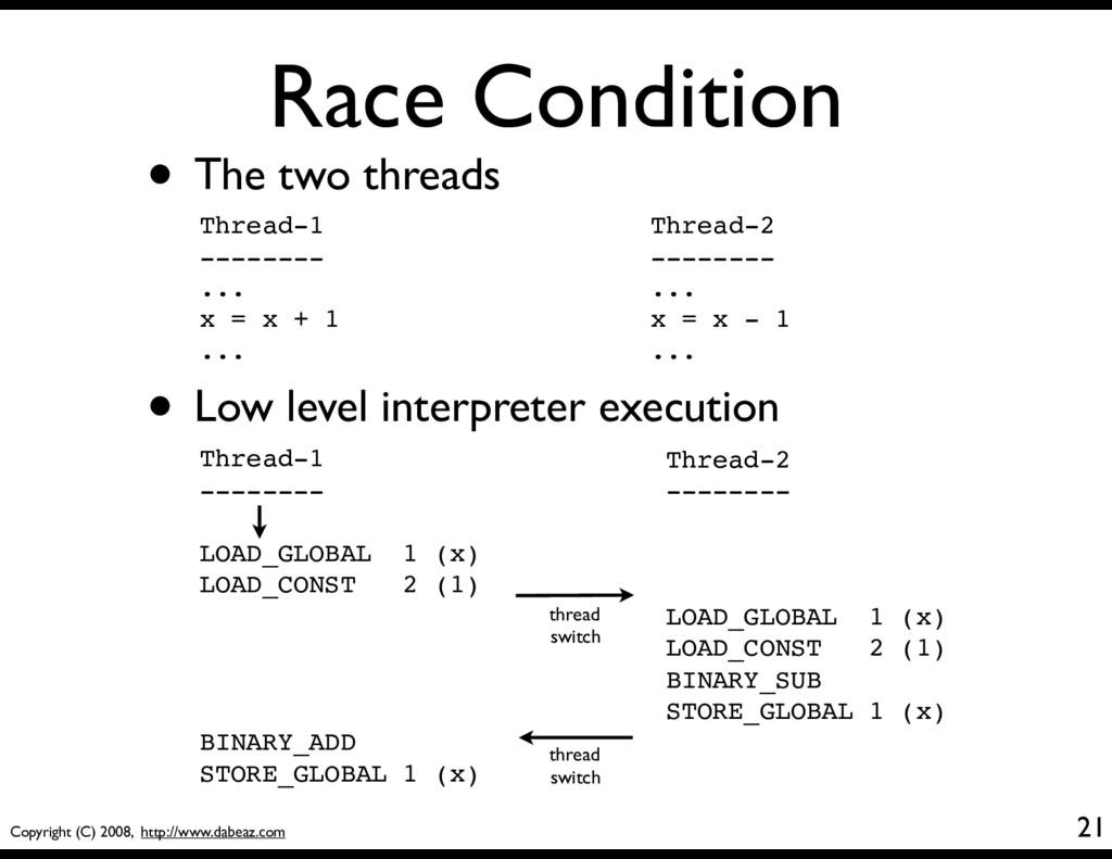 Copyright (C) 2008, http://www.dabeaz.com Race ...