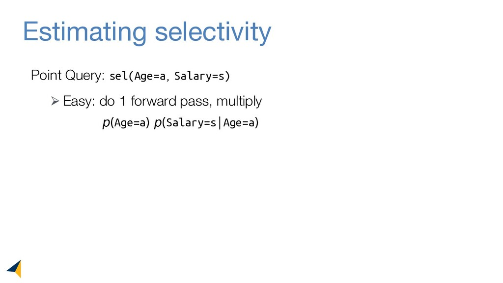 Estimating selectivity Point Query: sel(Age=a, ...