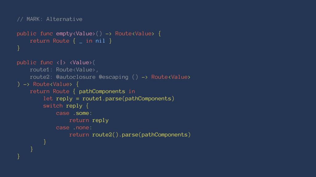 // MARK: Alternative public func empty<Value>()...