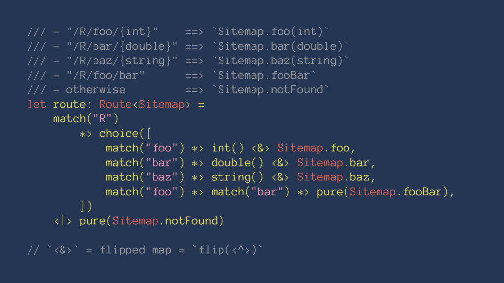 """/// - """"/R/foo/{int}"""" ==> `Sitemap.foo(int)` ///..."""