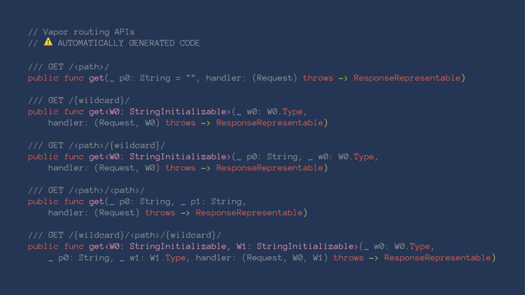 // Vapor routing APIs // ⚠ AUTOMATICALLY GENERA...
