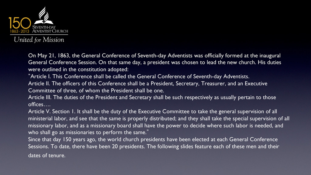 On May 21, 1863, the General Conference of Seve...