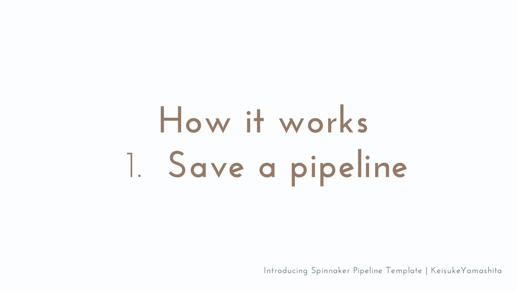 Save a pipeline How it works 1. Introducing Spi...