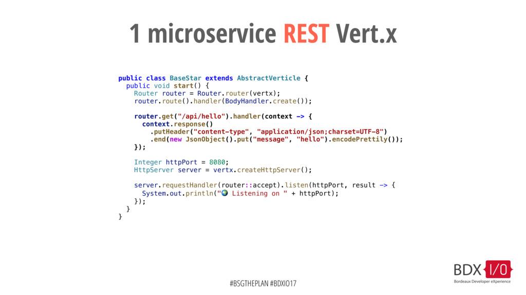 #BSGTHEPLAN #BDXIO17 1 microservice REST Vert.x...