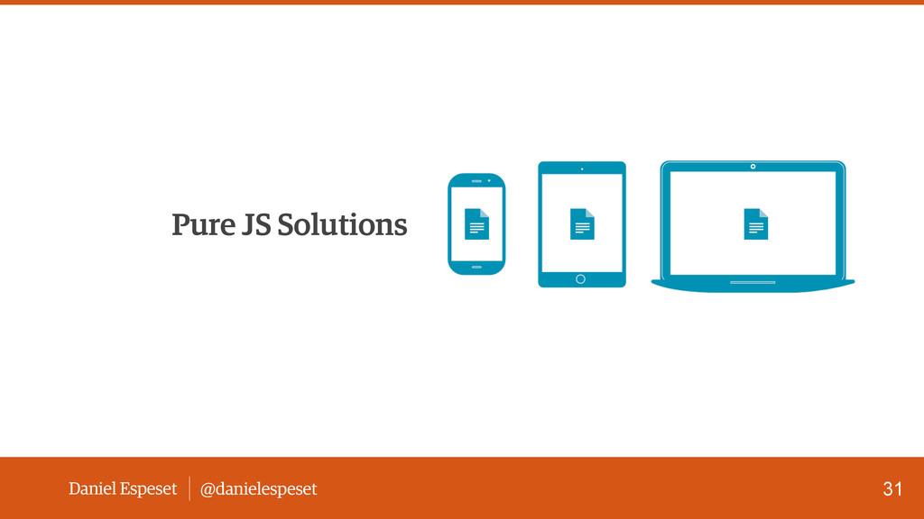 Daniel Espeset @danielespeset Pure JS Solutions...