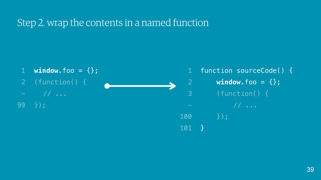Step 2. wrap the contents in a named function 3...