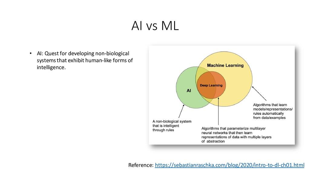 AI vs ML • AI: Quest for developing non-biologi...