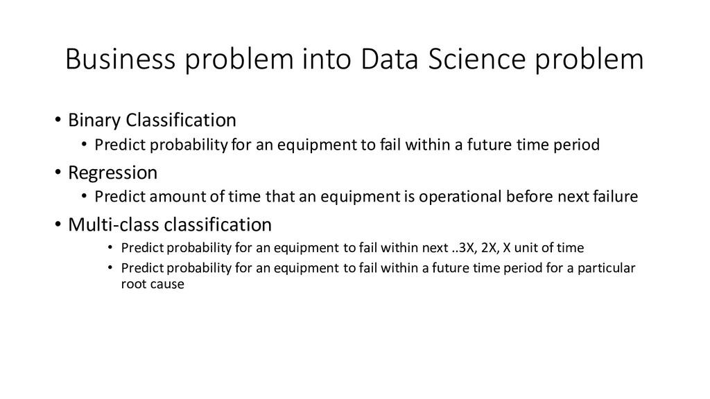 Business problem into Data Science problem • Bi...