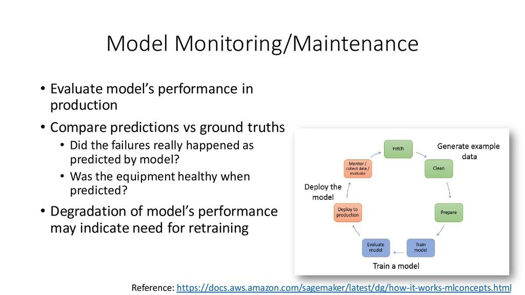 Model Monitoring/Maintenance • Evaluate model's...