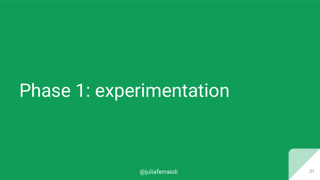 @juliaferraioli Phase 1: experimentation 21