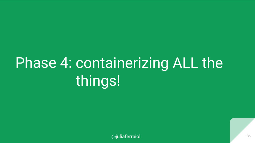 @juliaferraioli Phase 4: 36 containerizing ALL ...