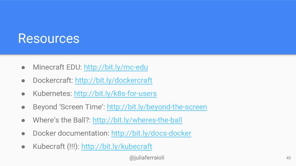 @juliaferraioli Resources ● Minecraft EDU: http...