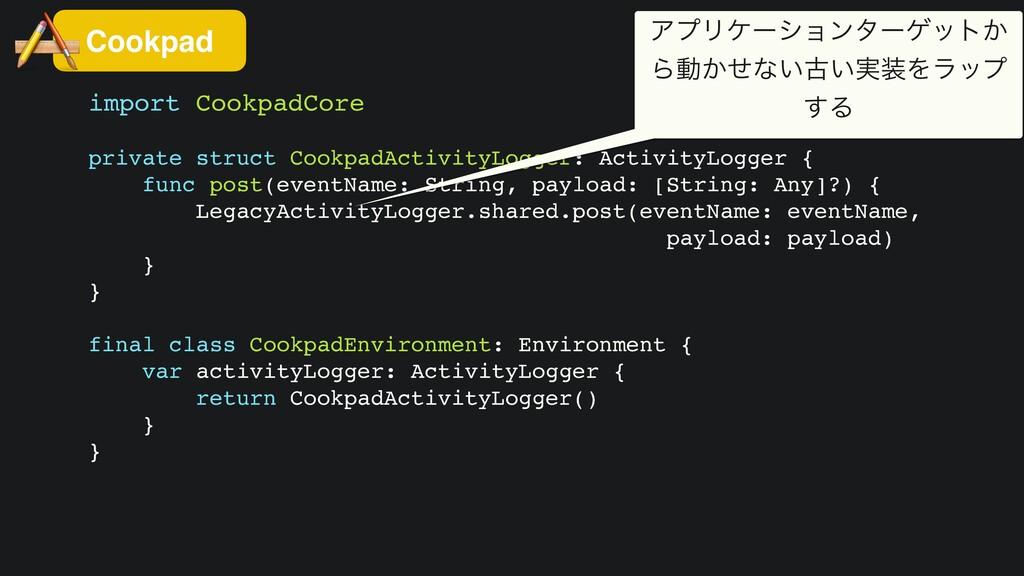 import CookpadCor e  private struct CookpadActi...