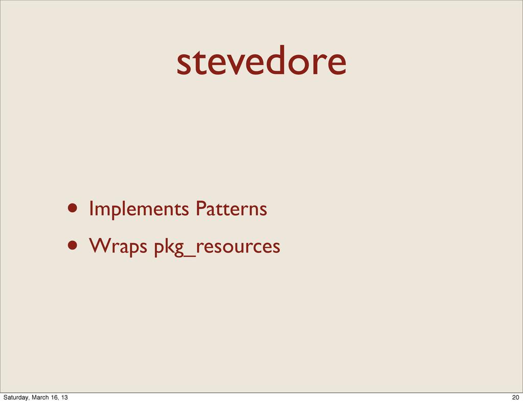 stevedore • Implements Patterns • Wraps pkg_res...