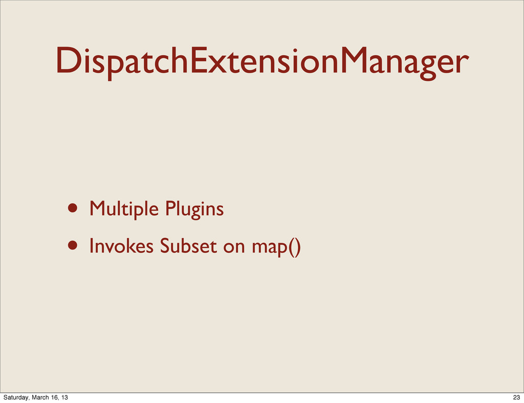 DispatchExtensionManager • Multiple Plugins • I...