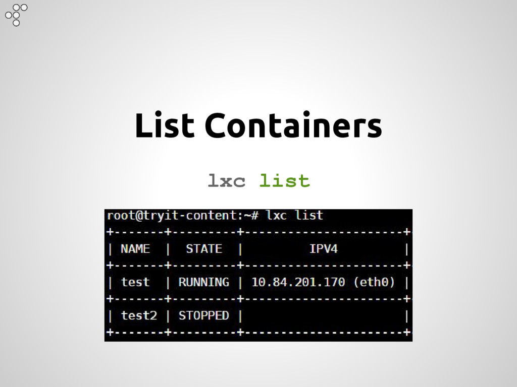 List Containers lxc list