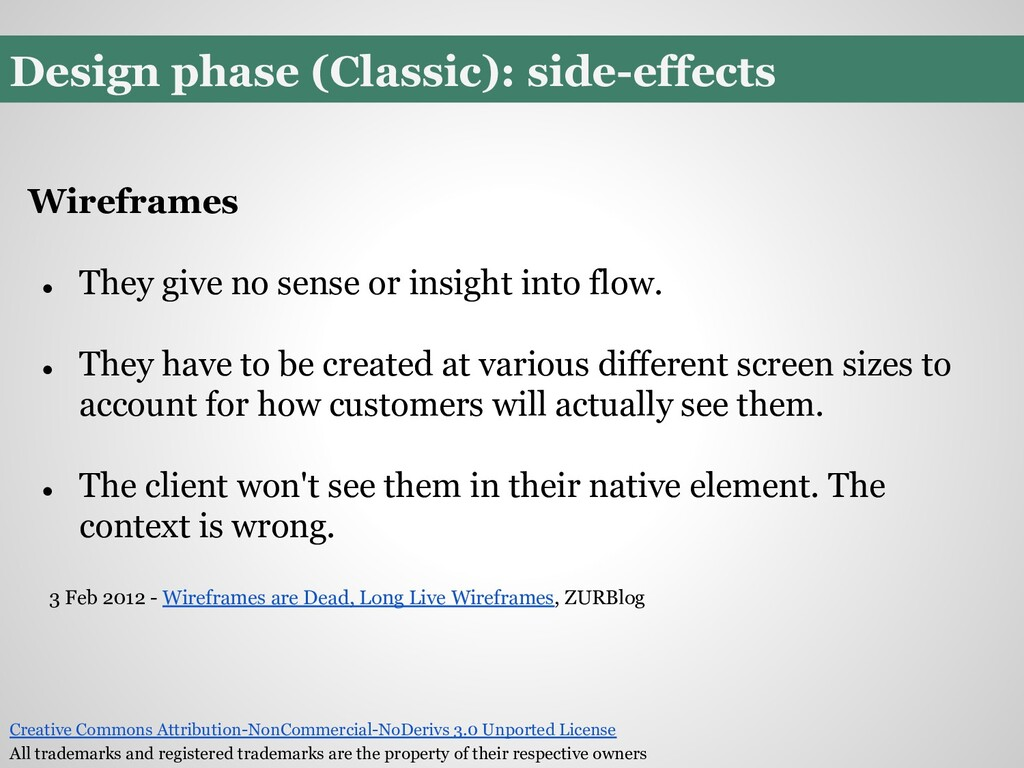 Design phase (Classic): side-effects Wireframes...