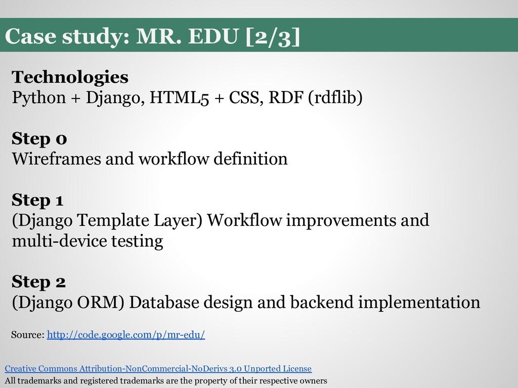 Case study: MR. EDU [2/3] Technologies Python +...