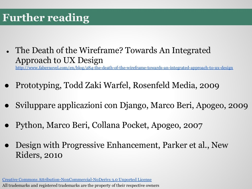 Further reading ● The Death of the Wireframe? T...