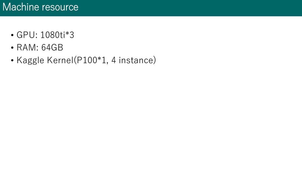 Machine resource • GPU: 1080ti*3 • RAM: 64GB • ...