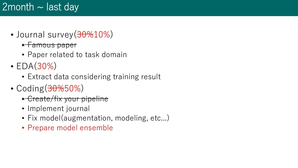 2month ~ last day • Journal survey(30%10%) • Fa...