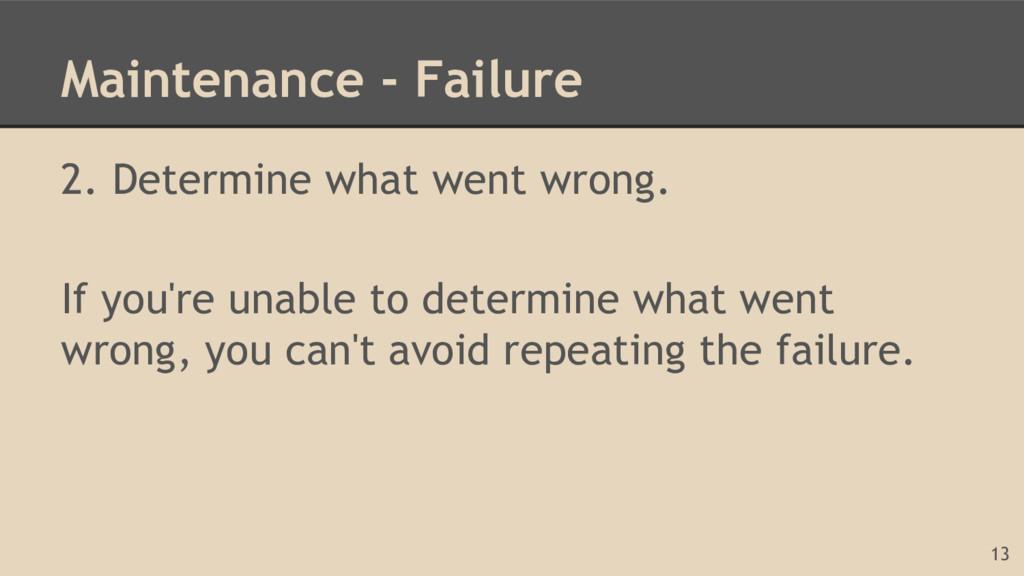 Maintenance - Failure 2. Determine what went wr...