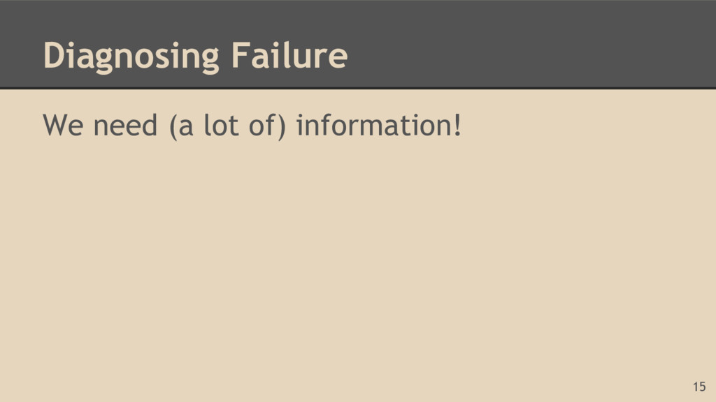 Diagnosing Failure We need (a lot of) informati...