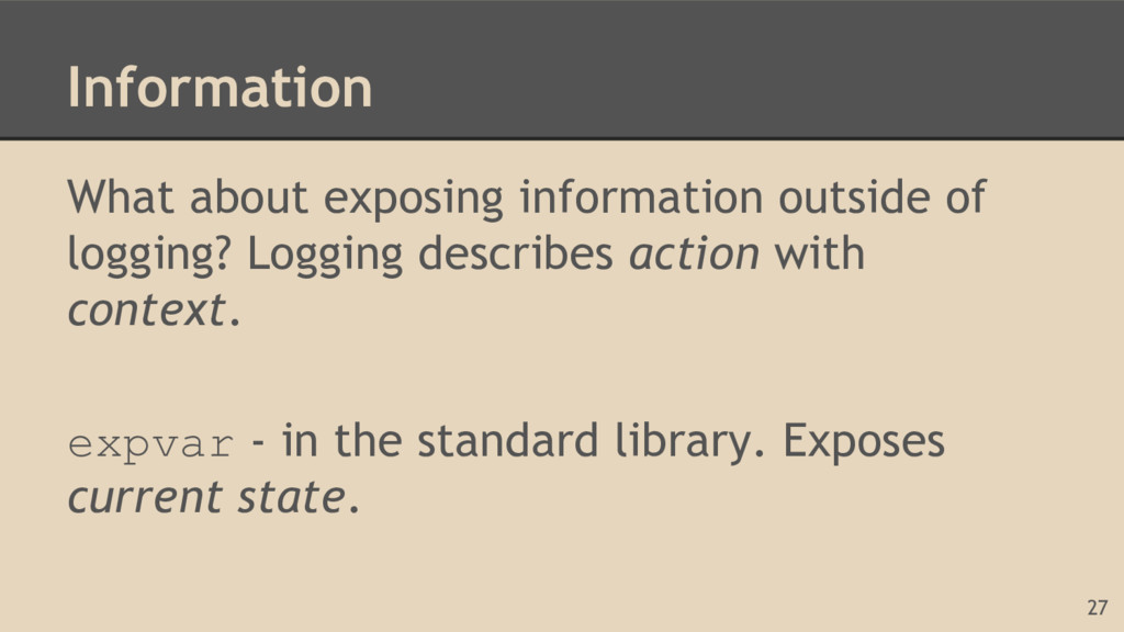 Information What about exposing information out...