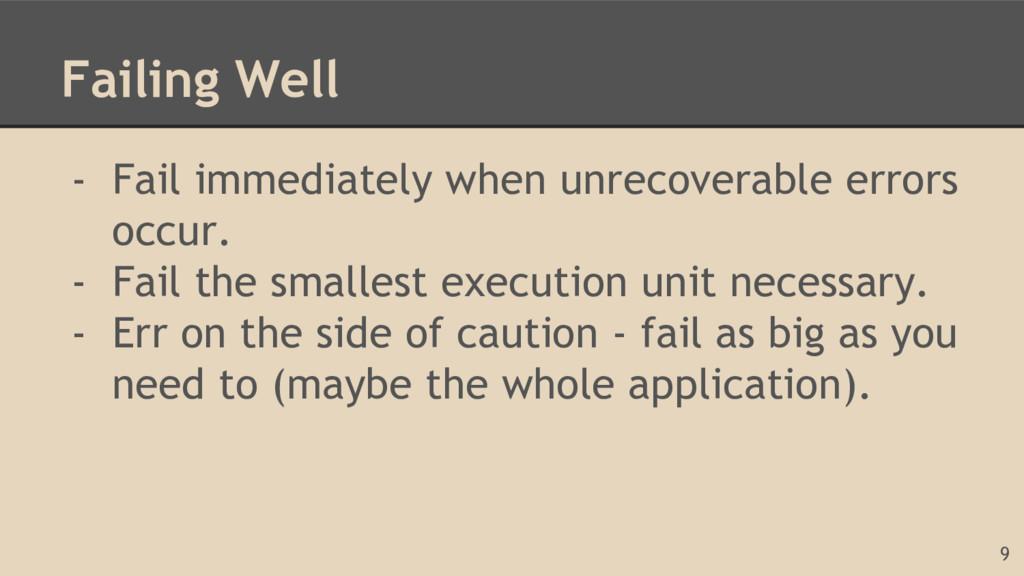 Failing Well - Fail immediately when unrecovera...
