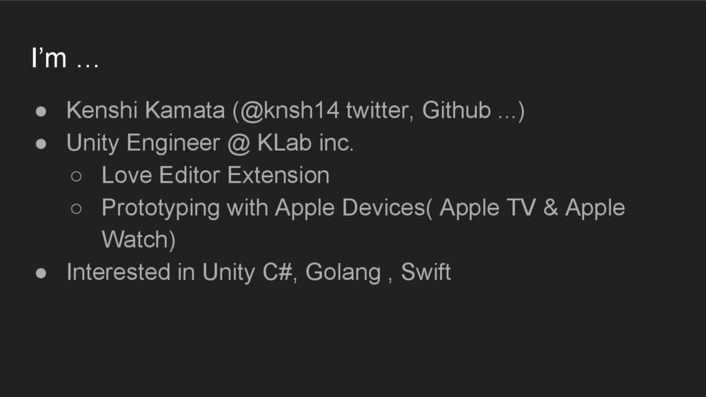 I'm … ● Kenshi Kamata (@knsh14 twitter, Github ...