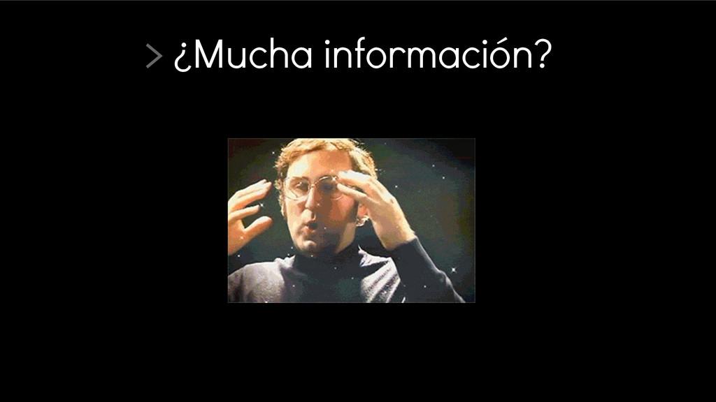 > ¿Mucha información?