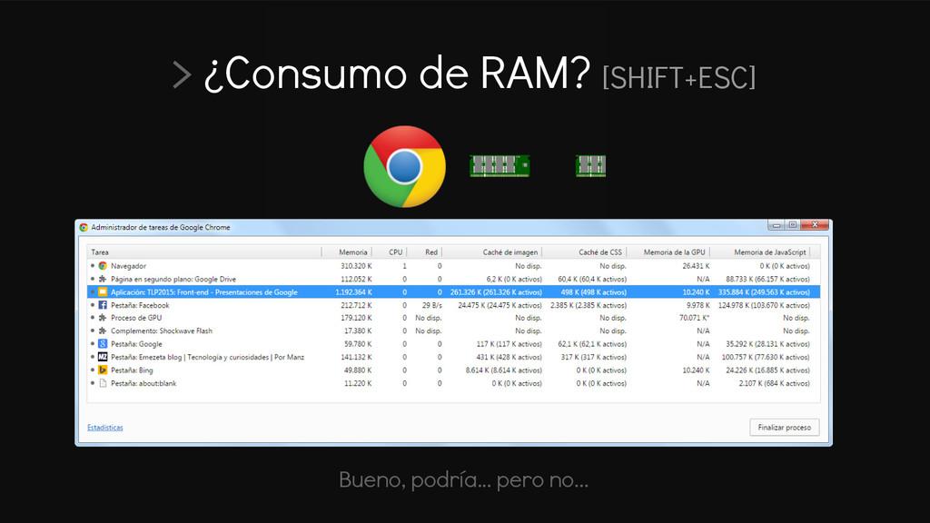 > ¿Consumo de RAM? [SHIFT+ESC] Bueno, podría......