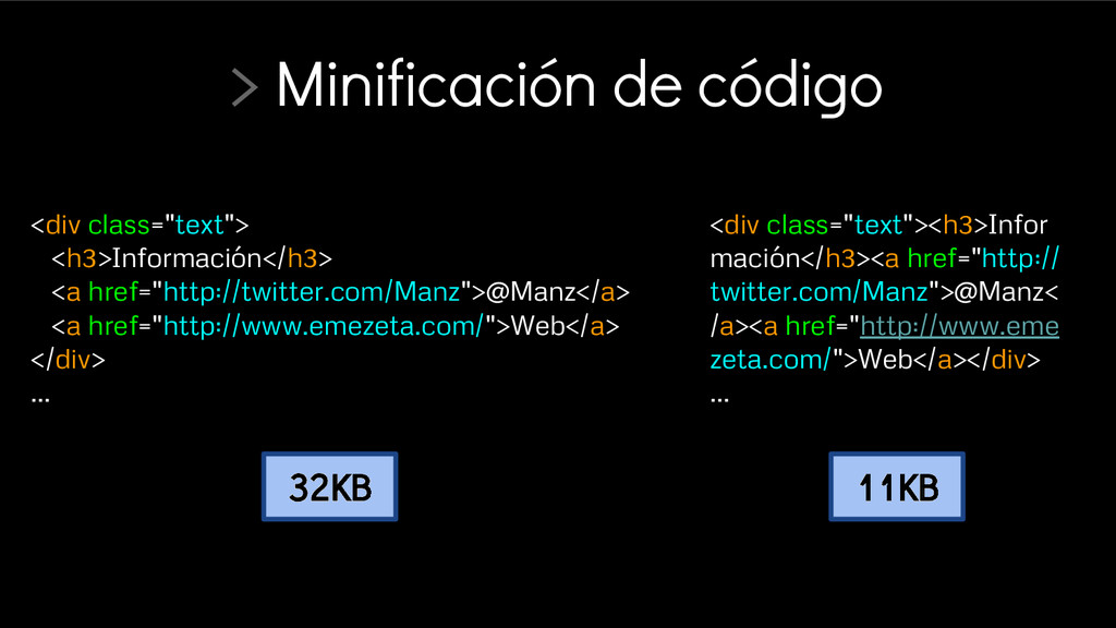 """> Minificación de código <div class=""""text""""> <h3..."""
